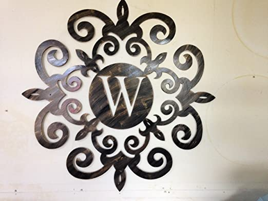 Amazon Com W Monogram Family Initial Wall Decor 23 5 Inches Home Kitchen