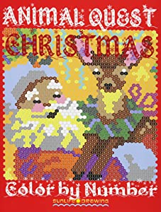 CHRISTMAS ANIMAL QUEST Color by Number: Activity Puzzle Coloring Book for Adults Relaxation & Stress Relief (Coloring Quest Books) (Volume 5)