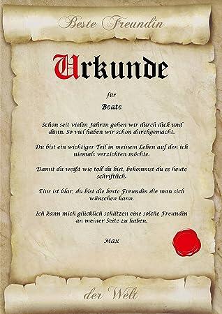 Urkunde personalisiert Geschenk Karte beste Freunde Freundin Freund ...
