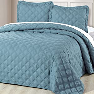Home Soft Things Serenta Down Alternative Quilted Charleston 3 Piece Bedspread Set, Twin, Smoke Blue