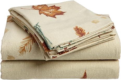 Divatex 100% algodón de franela sábanas Cal King de hojas de otoño, Franela,