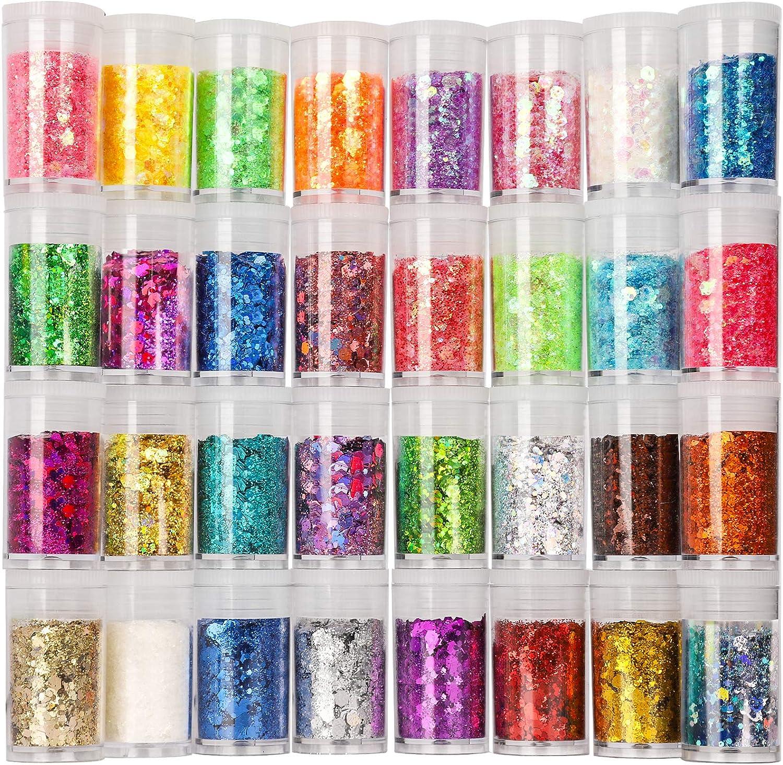 Festival Chunky and Fine Glitter Mix, Teenitor 32 Colors Chunky Sequins & Fine Glitter Powder Mix, Iridescent Glitter Flakes, Cosmetic Face Body Eye Hair Nail Art Resin Tumbler Glitter Loose Glitter