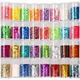 Festival Chunky and Fine Glitter Mix, Teenitor 32 Colors Chunky Sequins & Fine Glitter Powder Mix, Iridescent Glitter Flakes,