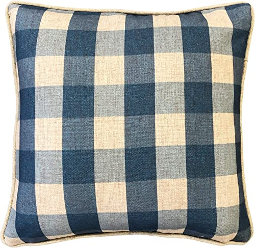 Rodeo Home Suzanne Plaid Linen Square Throw Pillow with 100 Feather Fill Insert for Sofa, Couch, Bed 20 X20 Azure, 20X20
