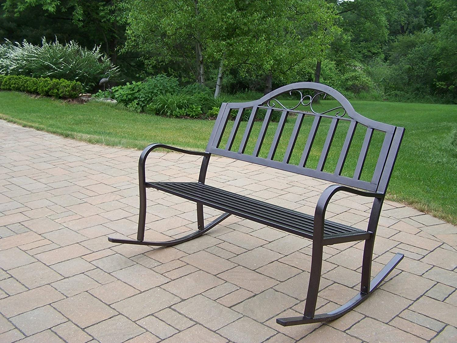 Oakland Living Hawthorne Rocking Bench, Hammertone Brown