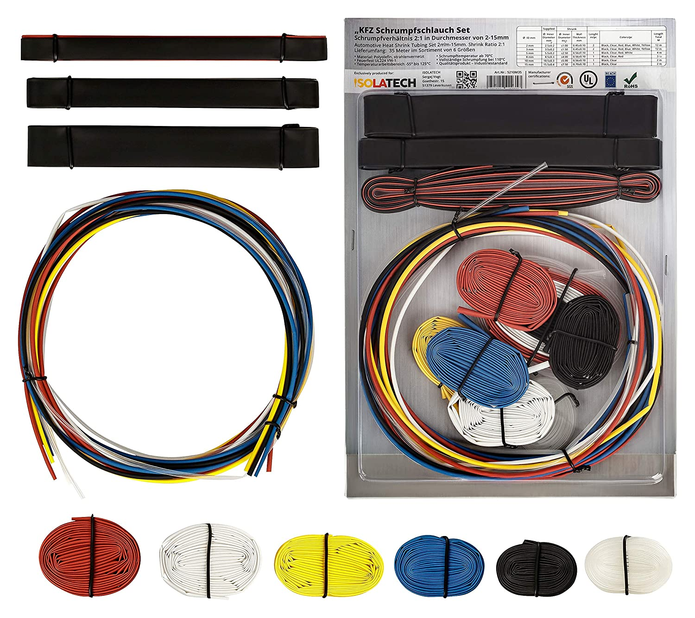 Assortiment de tubes thermor/étractables pour voiture de 35 m/ètres Toutes les couleurs et tailles en m/ètres par m/ètre