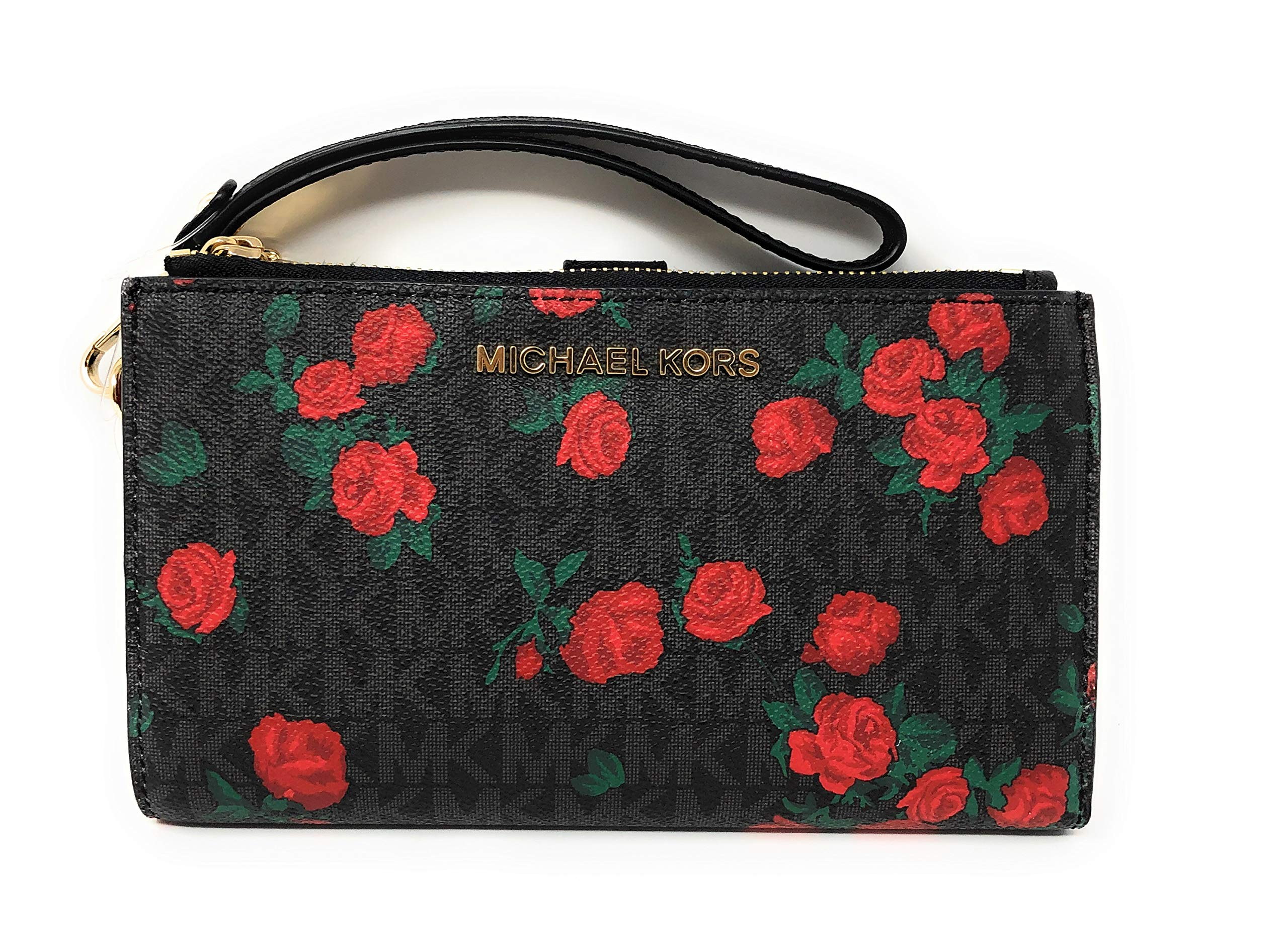Michael Kors Jet Set Travel Double Zip Saffiano Leather Wristlet Wallet (PVC Black/Red Rose)