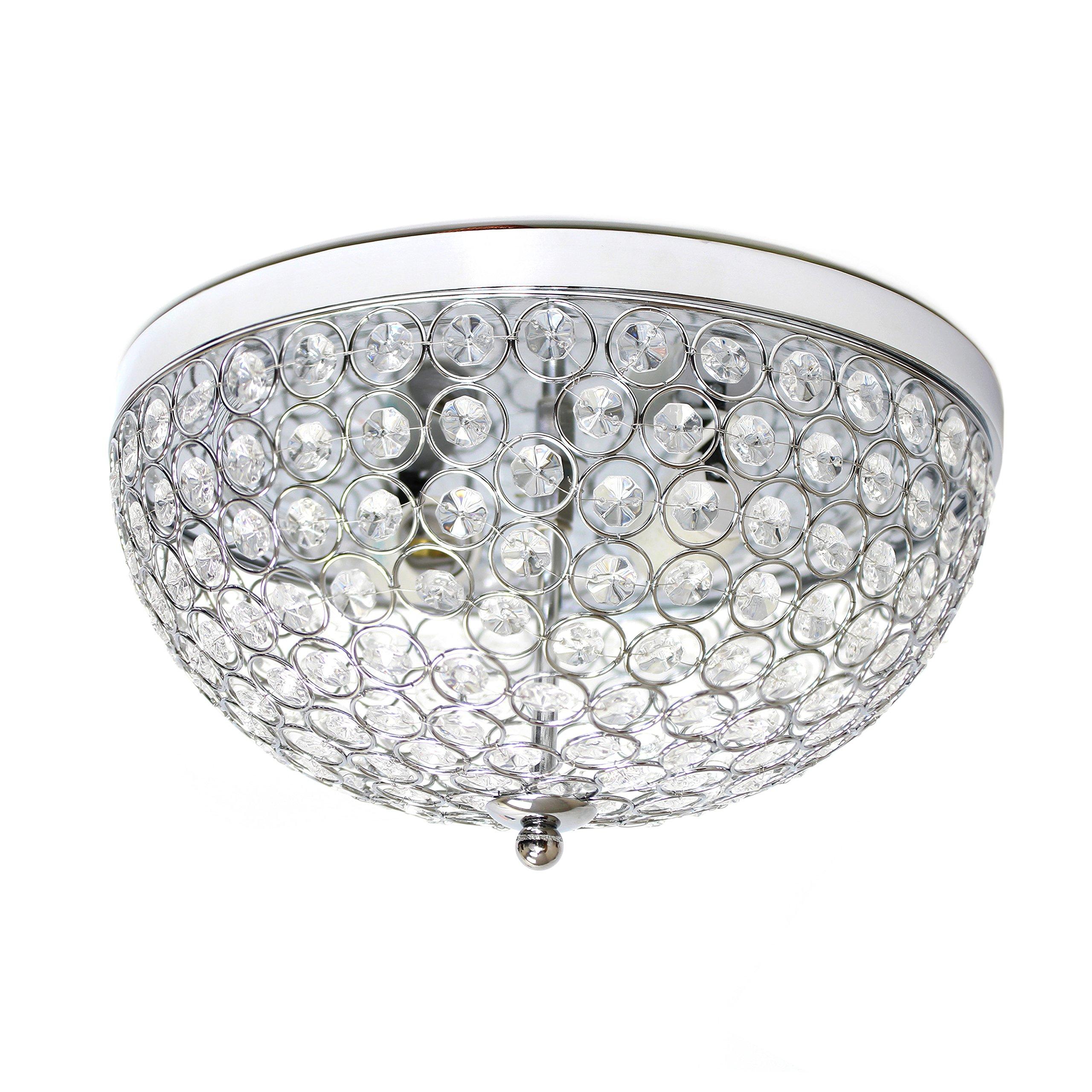 Elegant Designs FM1000-CHR Elipse Crystal 2 Light Ceiling Flush Mount, Chrome by Elegant Designs (Image #3)