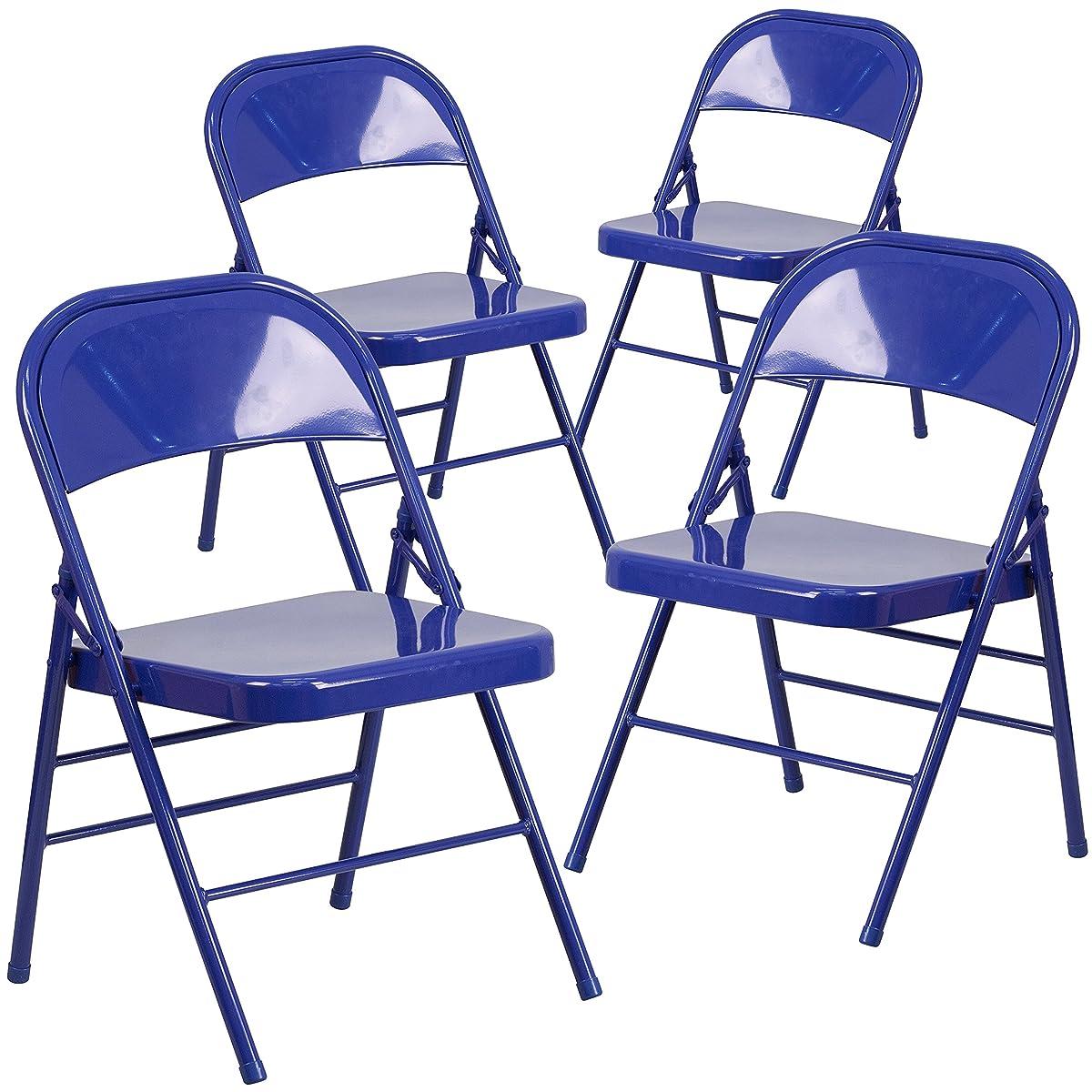 Flash Furniture 4 Pk. HERCULES COLORBURST Series Cobalt Blue Triple Braced & Double Hinged Metal Folding Chair