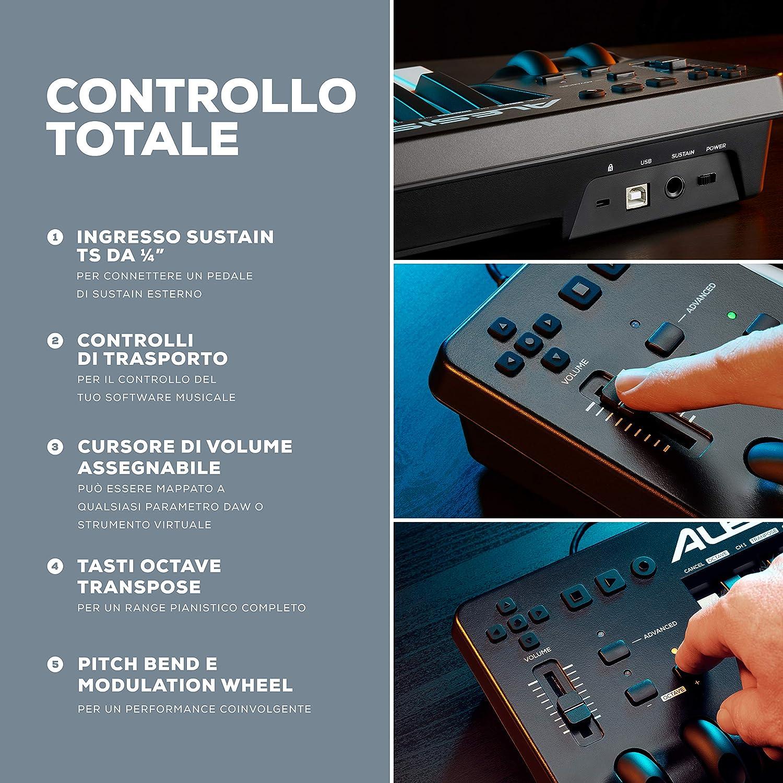Alesis Q49 MKII Tastiera MIDI Controller a 49 note con tasti sensibili alla velocity e software di produzione musicale incluso