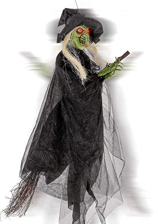 5.5/' Sound Activated Animated Halloween Witch w//Broom Haunted House Props