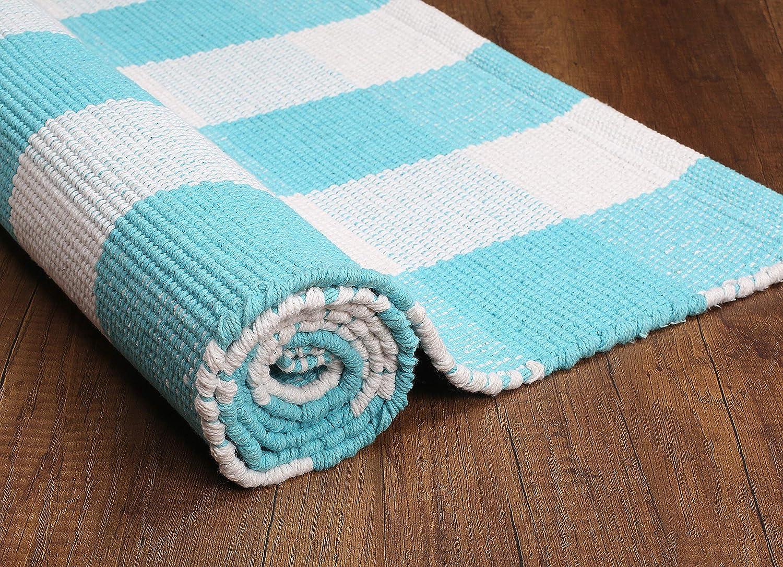 Ink Blue-White Buffalo Checkered Throw Rug 100/% Cotton for Kitchen Entryway Living Room Buffalo Check Cotton Runner 24x60