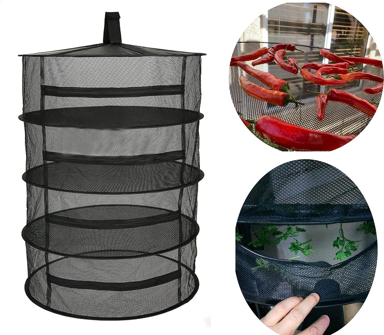 Teekit Herb Dry Rack Net 4 Layer Hierba Secadora Malla Colgante Secadora Racks con Cremallera