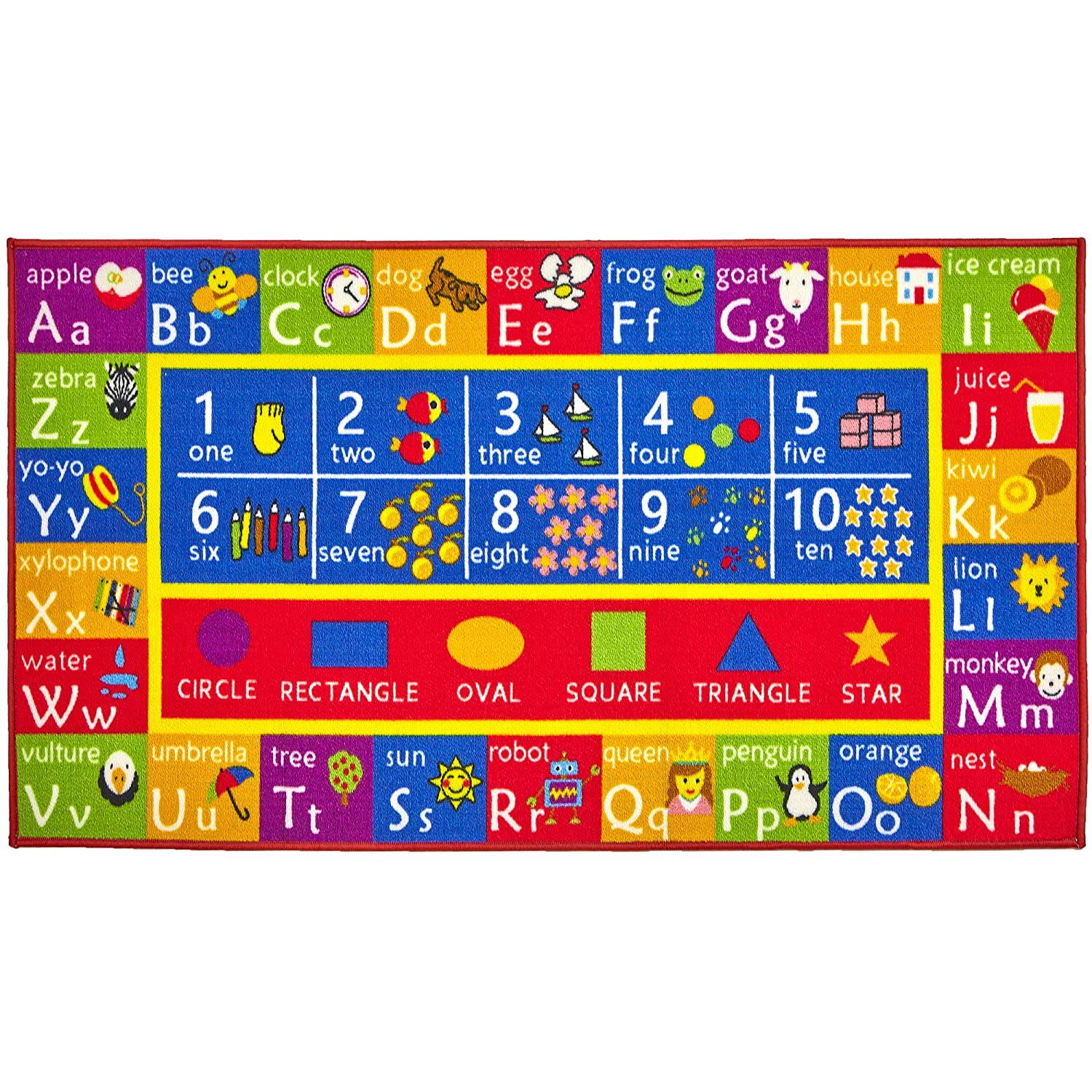 Alphabet and Numbers Play Rug – Educational and Fun Kid's Mat - Bedroom, Nursery and Classroom Carpet Runner – Shapes and Colorful Shape Designs - by Amy & Delle
