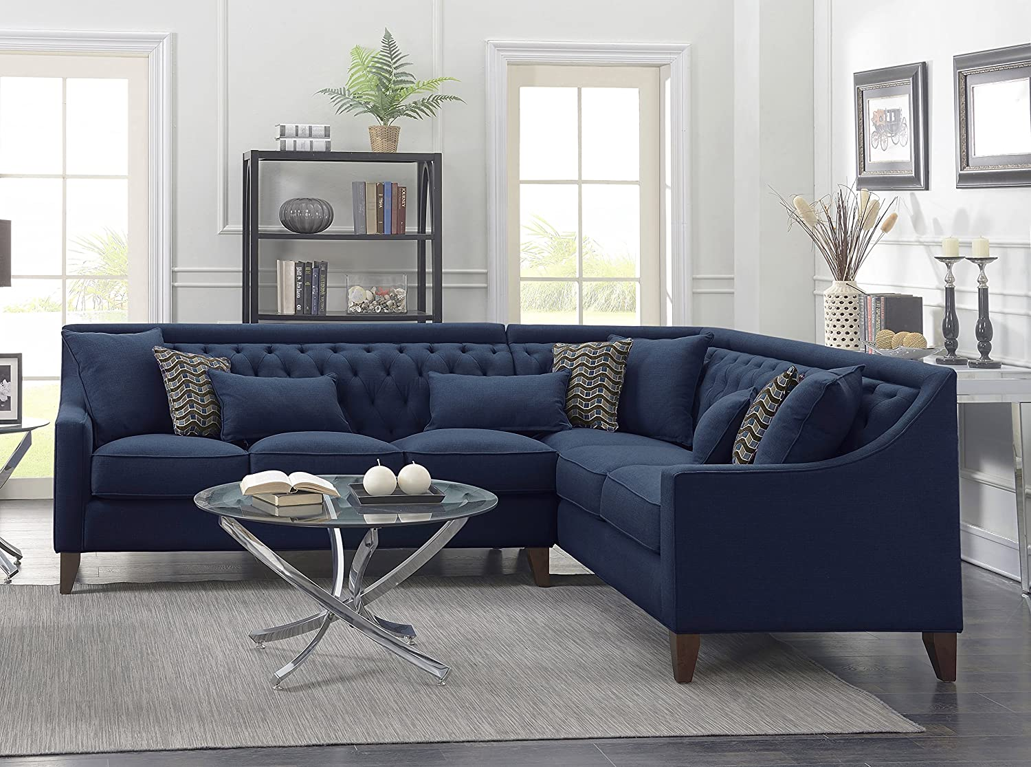 Amazon com iconic home aberdeen linen tufted down mix modern contemporary right facing sectional sofa navy home kitchen