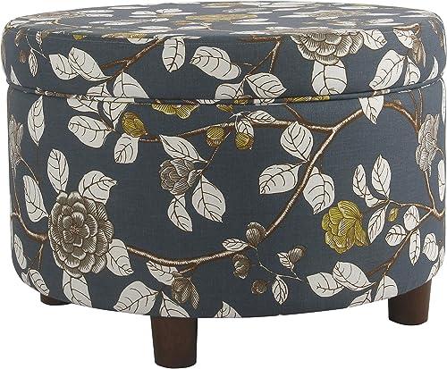 HomePop Round Upholstered Storage Ottoman