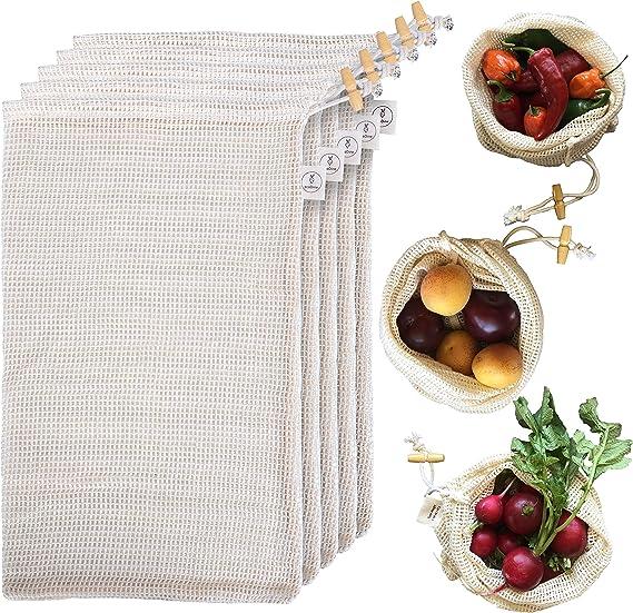 Bolsas De Supermercado En Algod/ón Org/ánico 2 Piezas Bolsas De Almacenamiento De Malla De Algod/ón Org/ánico Para Comestibles Frutas Lavables Transpirables Frutas Saver Eco Bolsas De Alimentos