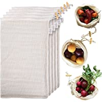 Reusable Produce Bags Organic Cotton - Grocery Mesh Produce Bags, Refrigerator, & Bulk Storage - Washable Knit Vegetable…