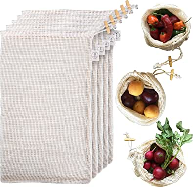 Reusable Produce Bags Organic Cotton - Grocery Mesh Produce Bags, Refrigerator, & Bulk Storage - Washable Knit Vegetable Bags - Set of 5 Large Bags - 16 x 9 in - Drawstring, Tare Weight, Wooden