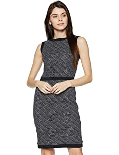 931db51af77 Van Heusen Women A-Line Knee-Long Dress  Amazon.in  Clothing ...