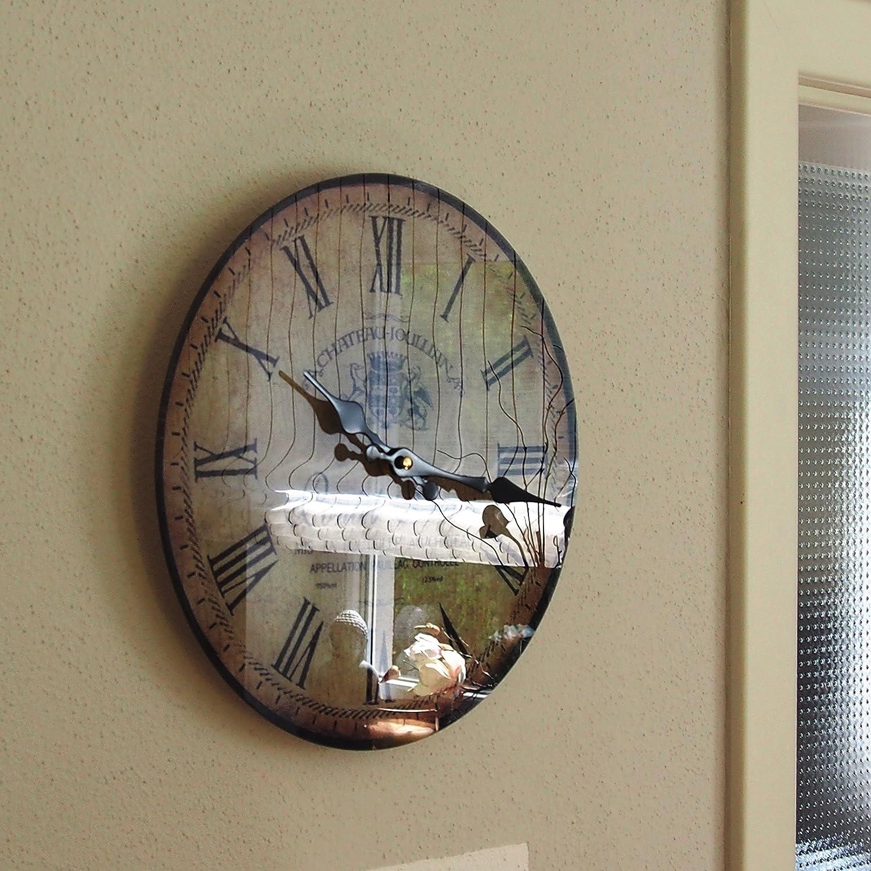 mouvement /à quartz environ30/cm de diam/ètre Pontet Fr/ères Horloge murale en verre Perla Pd Design vintage