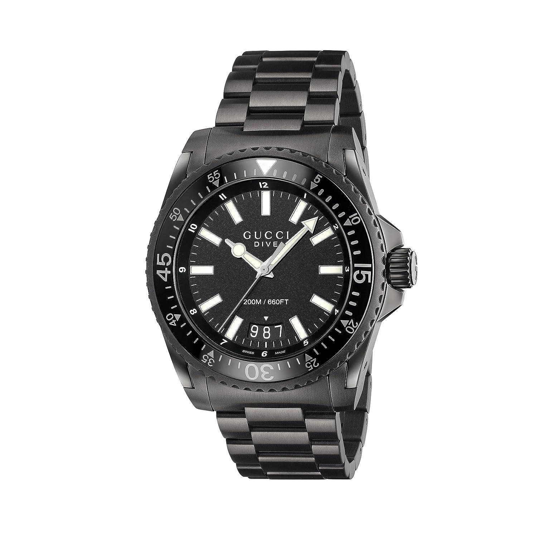 00ffaba3ec4 Amazon.com  Gucci Men s Dive Watch Quartz Sapphire Crystal YA136205   Clothing