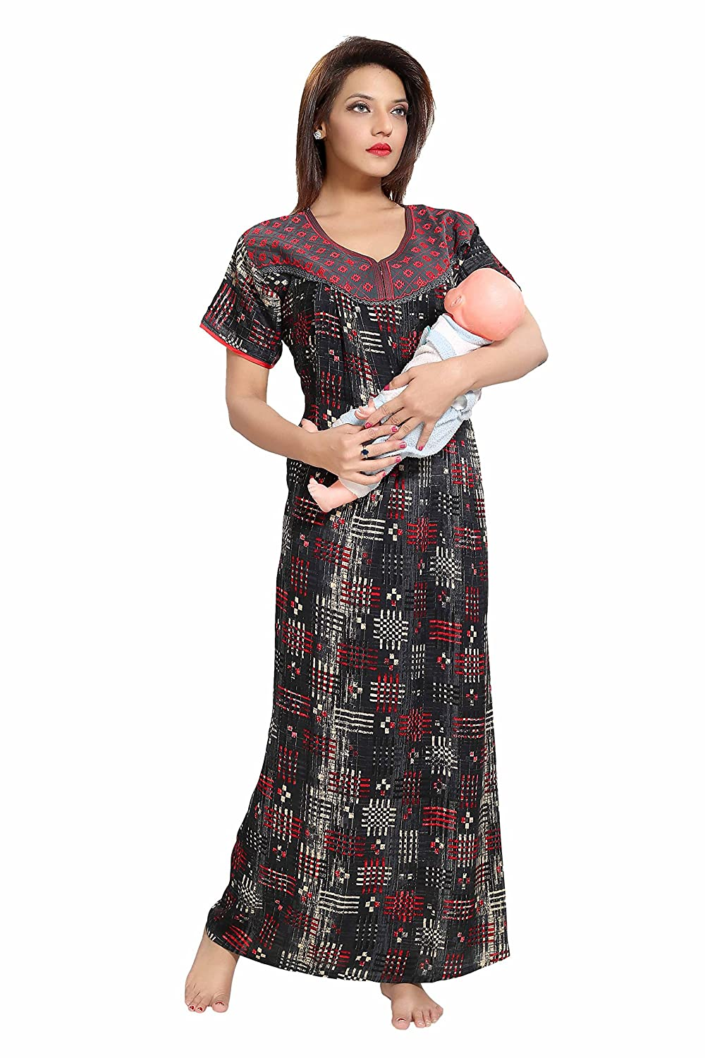 98d6f7d7ec730 Soulemo Womens Embroidery Feeding Nighty/Maternity Dress. (an Bombay Rayon  Fabric). 641: Amazon.in: Clothing & Accessories
