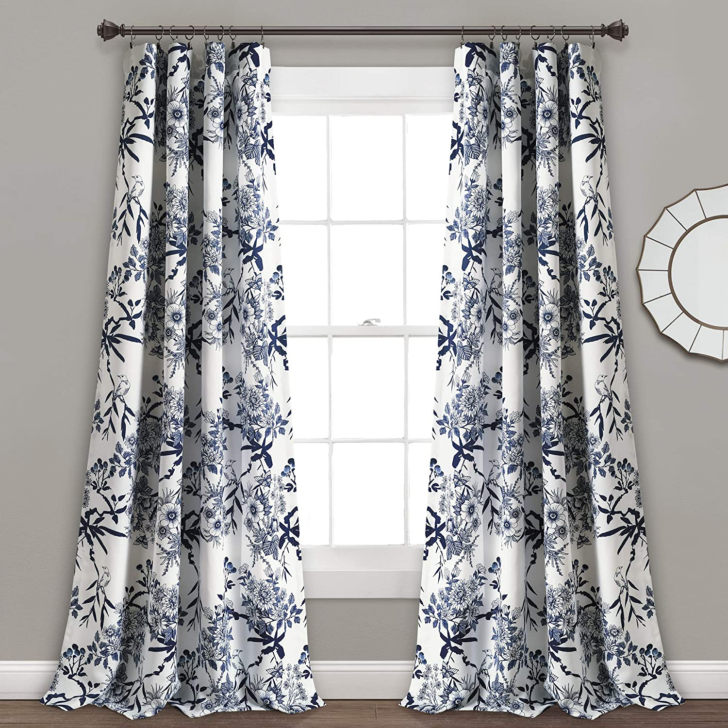 "Lush Decor, Navy Botanical Garden Curtains Floral Bird Print Room Darkening Window Panel Drapes Set for Living, Dining, Bedroom (Pair), 84"" x 52"""