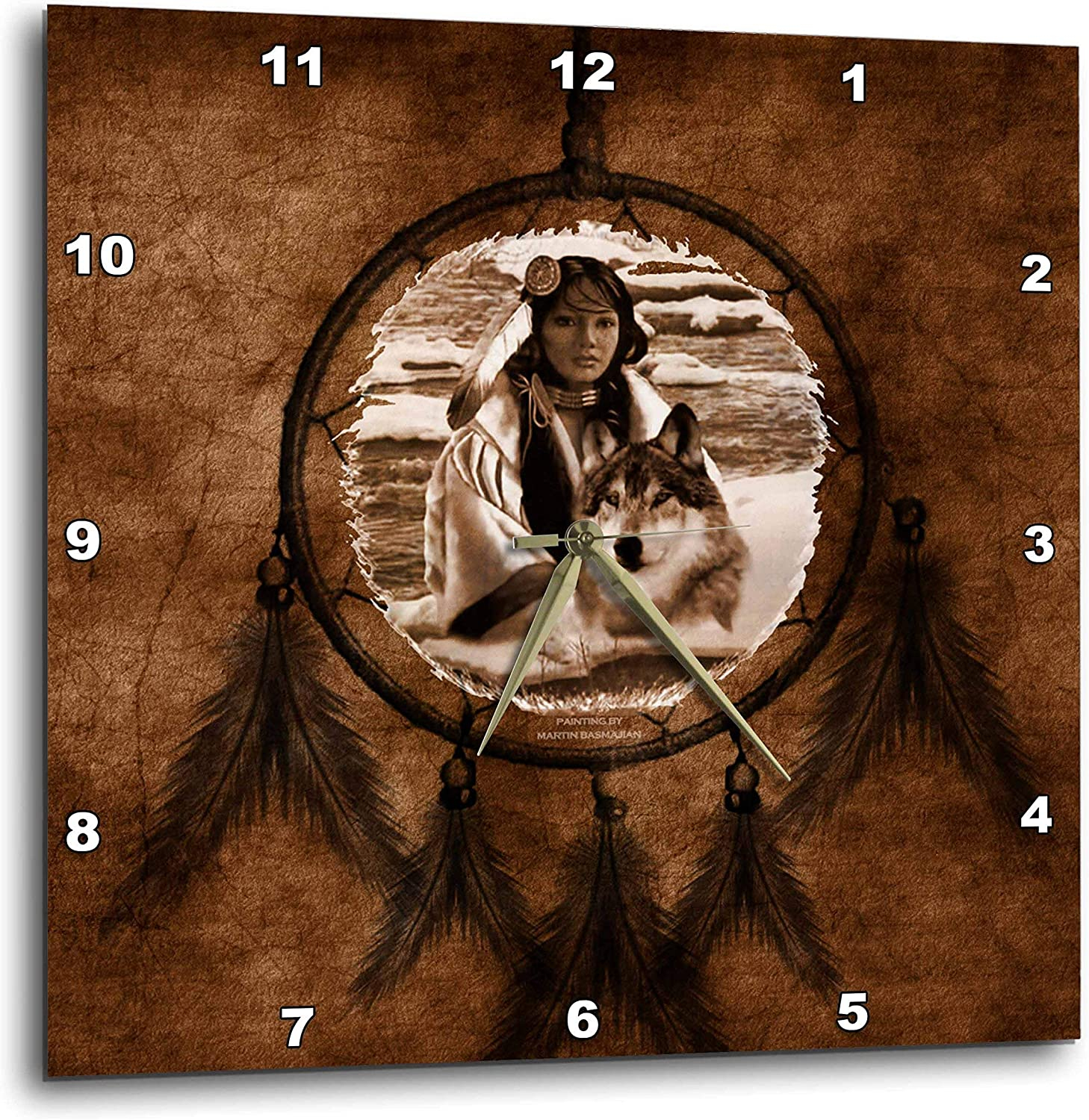 3dRose DPP_52256_3 Brown Native American Wolf Based on a Painting by Martin Basmajian Wall Clock, 15 by 15-Inch