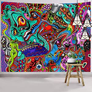 Hexagram Trippy Tapestry Psychedelic Abstract Monster Tapestry Wall Hanging Bohemian Arabesque Wall Art Fantasy Magical Fractal Wall Tapestry Home Decor