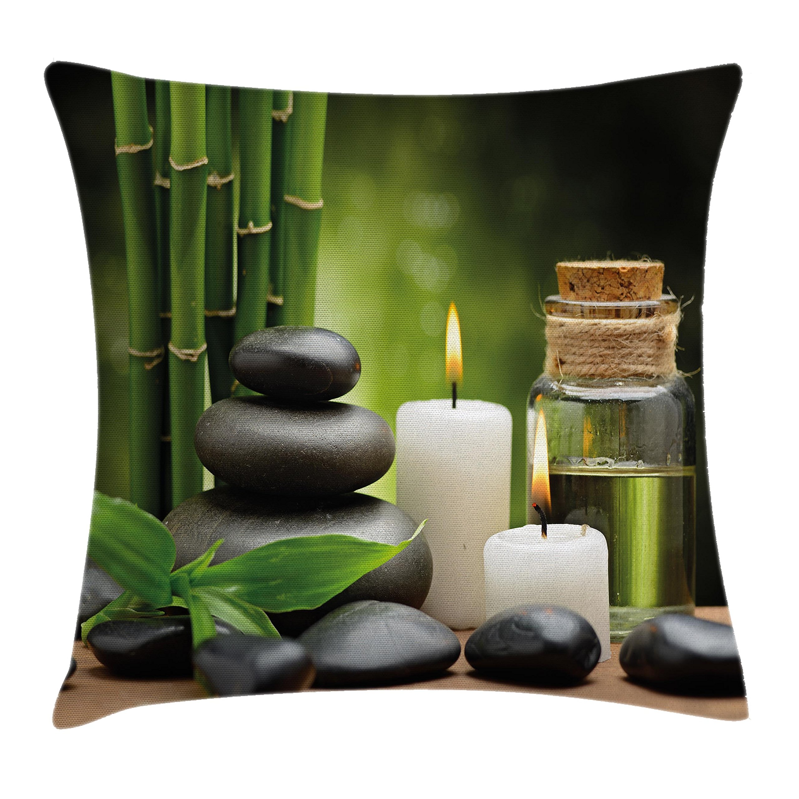 Ambesonne Spa Decor Throw Pillow Cushion Cover, Hot Massage Rocks Combined with Candles and Scents Landscape of Bamboo, Decorative Square Accent Pillow Case, 18 X 18 Inches, Green White and Black