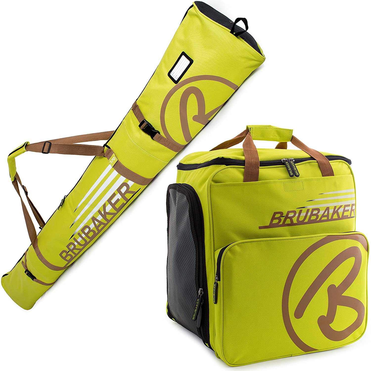 Poles Limited Edition Boots and Helmet BRUBAKER Superfunction Combo Ski Boot Bag and Ski Bag for 1 Pair of Ski