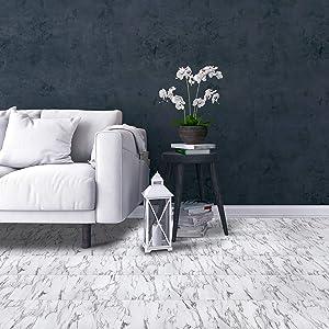 Achim Home Furnishings FTVMA45545 Bianco Marble Tivoli x 12 Self Adhesive Vinyl Floor Tile-45 Tiles/45 sq. Ft