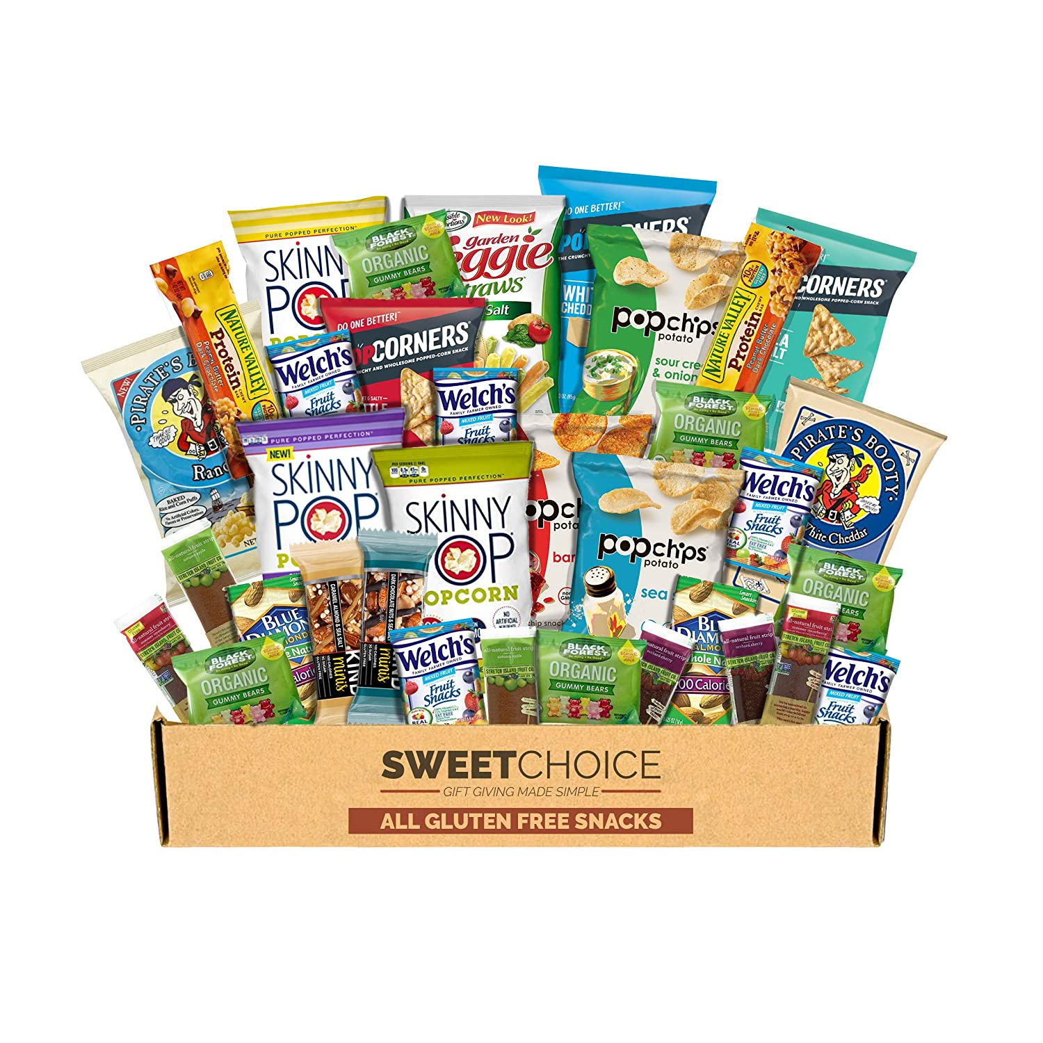 Snack Box Gluten Free Healthy Snacks Care Package (34 Count) for College Students, Exams, Father's Day, Military, Finals, Office and Gift Ideas. Chips, Popcorn, and granola Bars.