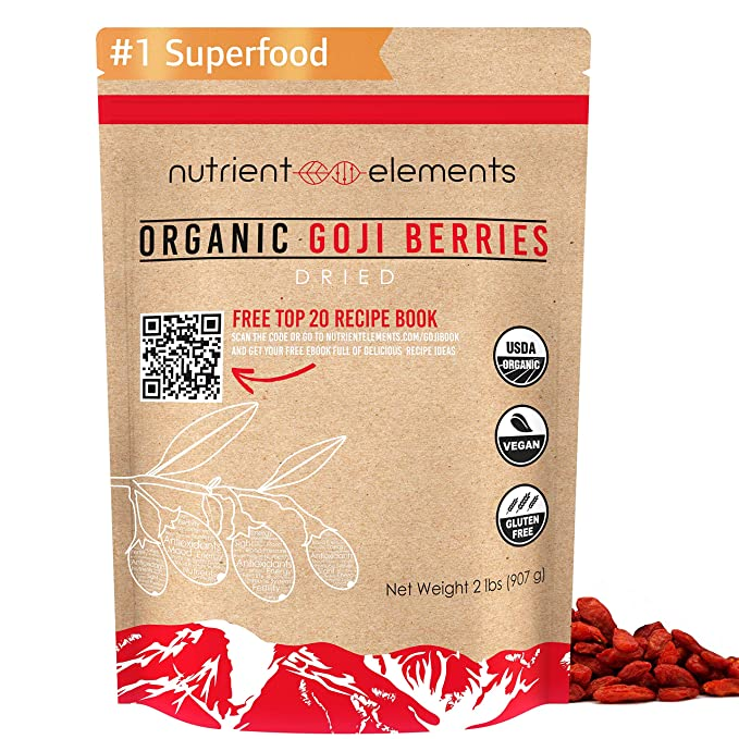 2 lbs/32oz Premium Organic, Raw & Dried Goji Berries - USDA Certified - (907g) - Natural Superfood - Extra Large, Non GMO Berries with Resealable Bag by Nutrient Elements - Free Recipes E-Book: AmazonSmile: Grocery & Gourmet Food