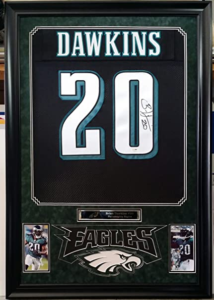 928efc3453f Image Unavailable. Image not available for. Color  Brian Dawkins  Autographed Signed Framed Jersey Philadelphia Eagles JSA