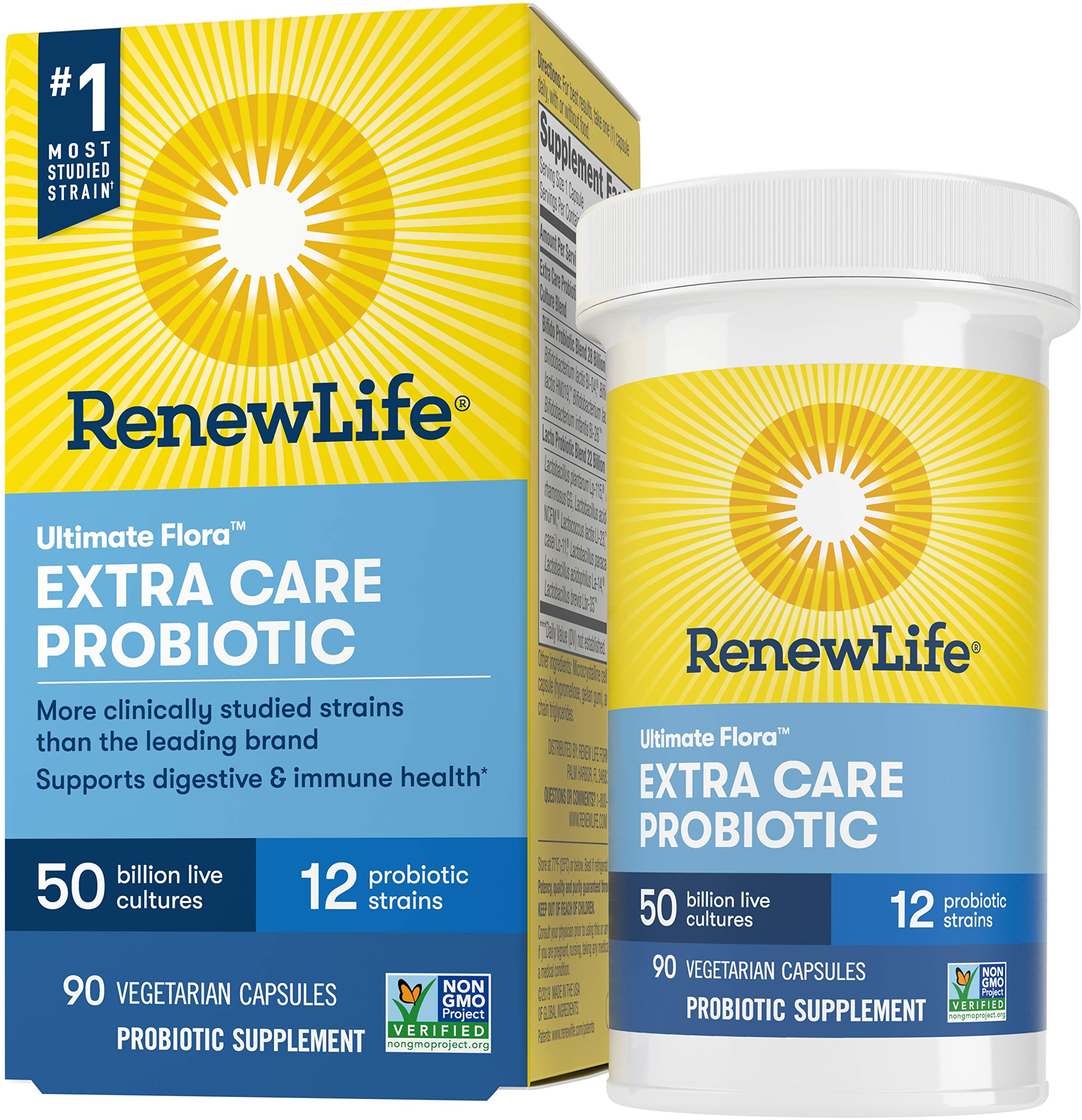 Renew Life Adult Probiotics 50 Billion CFU Guaranteed, Probiotic Supplement, 12 Strains, Shelf Stable, Gluten Dairy & Soy Free, 90 Capsules, Ultimate Flora Extra Care - 60 Day Money Back Guarantee