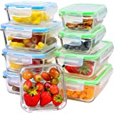 Elacra Glass Food Storage Containers - 9 Glass Containers and 9 Locking Lids - Meal Prep & Lunch Glass Container Set