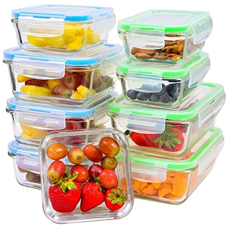 Superbe Glass Food Storage Containers [9 Piece]   Leakproof Glass Meal Prep  Containers With