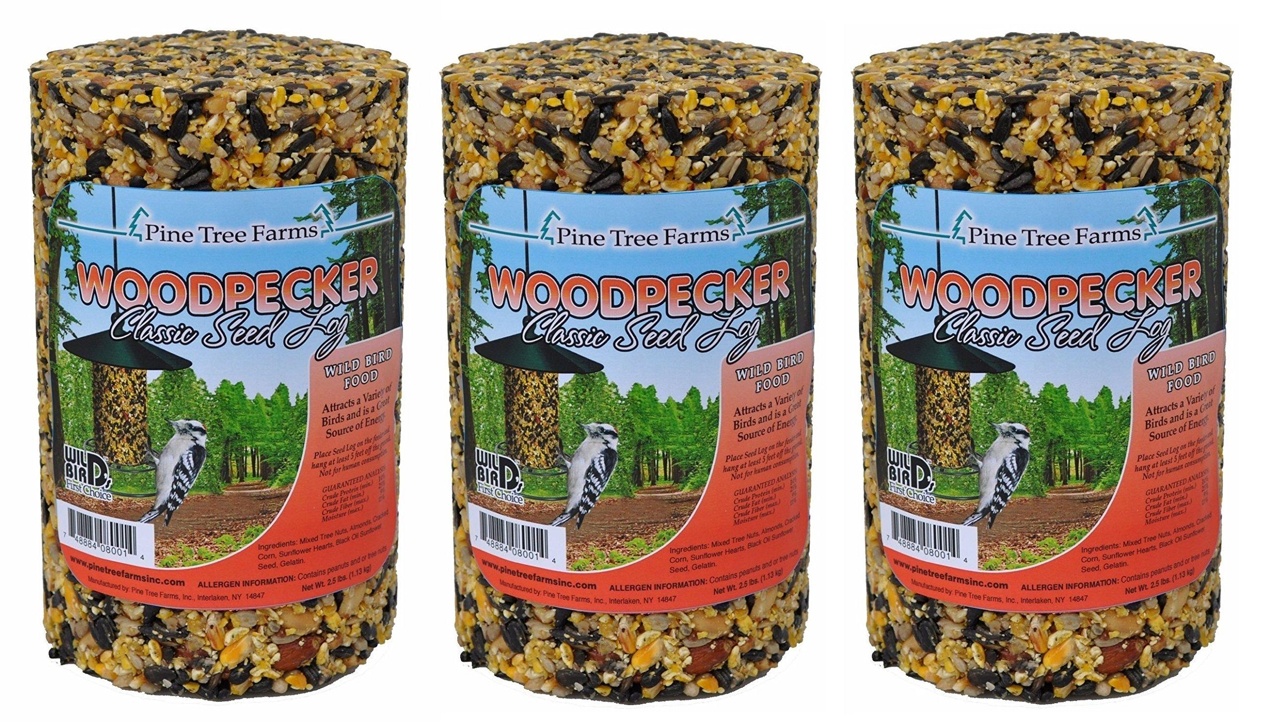 (Pack of 3) Pine Tree Farm Woodpecker Classic Seed Log, 40-Ounce