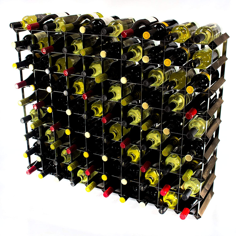 Cranville wine racks Classica cantinetta per 90 bottiglie di vino, realizzata in robusto legno di pino scuro e acciaio galvanizzato, già montata.
