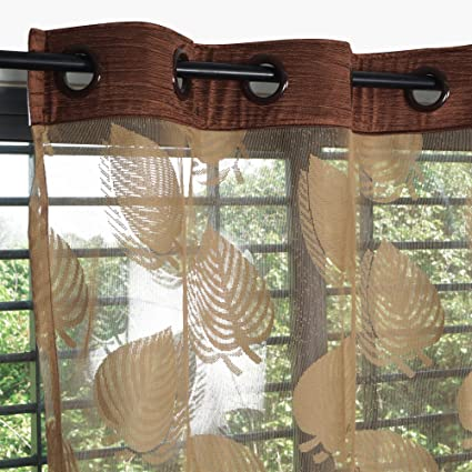 Story@Home Fancy Sparkling Sheer Strip Premium String Beads Hanging Net 2 Piece Polyester Door Curtain Set - 7ft, Light Brown