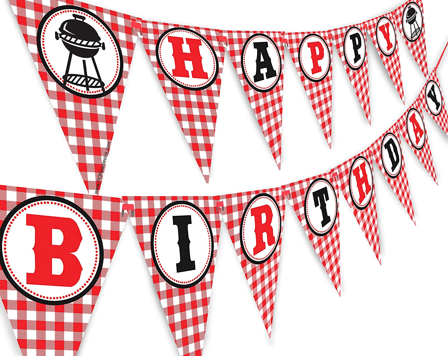 Picnic Happy Birthday Banner - BBQ Birthday Party Pennant - Red Gingham Banner
