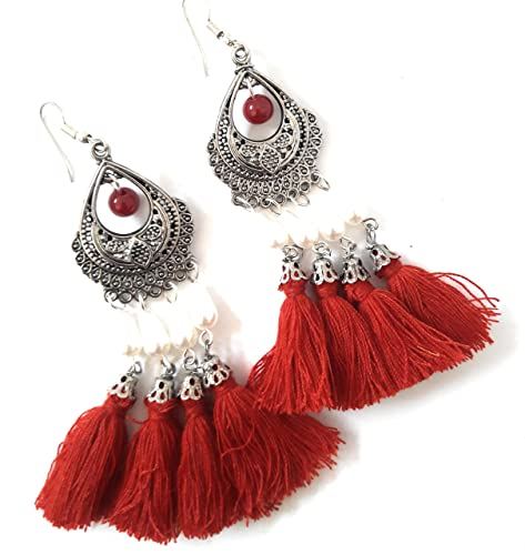 Shimmer Swag Silver Oxidised White Pearl Red Tussel Earrings for Girls and  Women