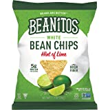 Beanitos Hint of Lime Bean Chips with Sea Salt, Plant Based Protein, Good Source Fiber, Gluten Free, Non-GMO, Vegan, Corn Free Tortilla Chip Snack, 1.2 Ounce (Pack of 24)