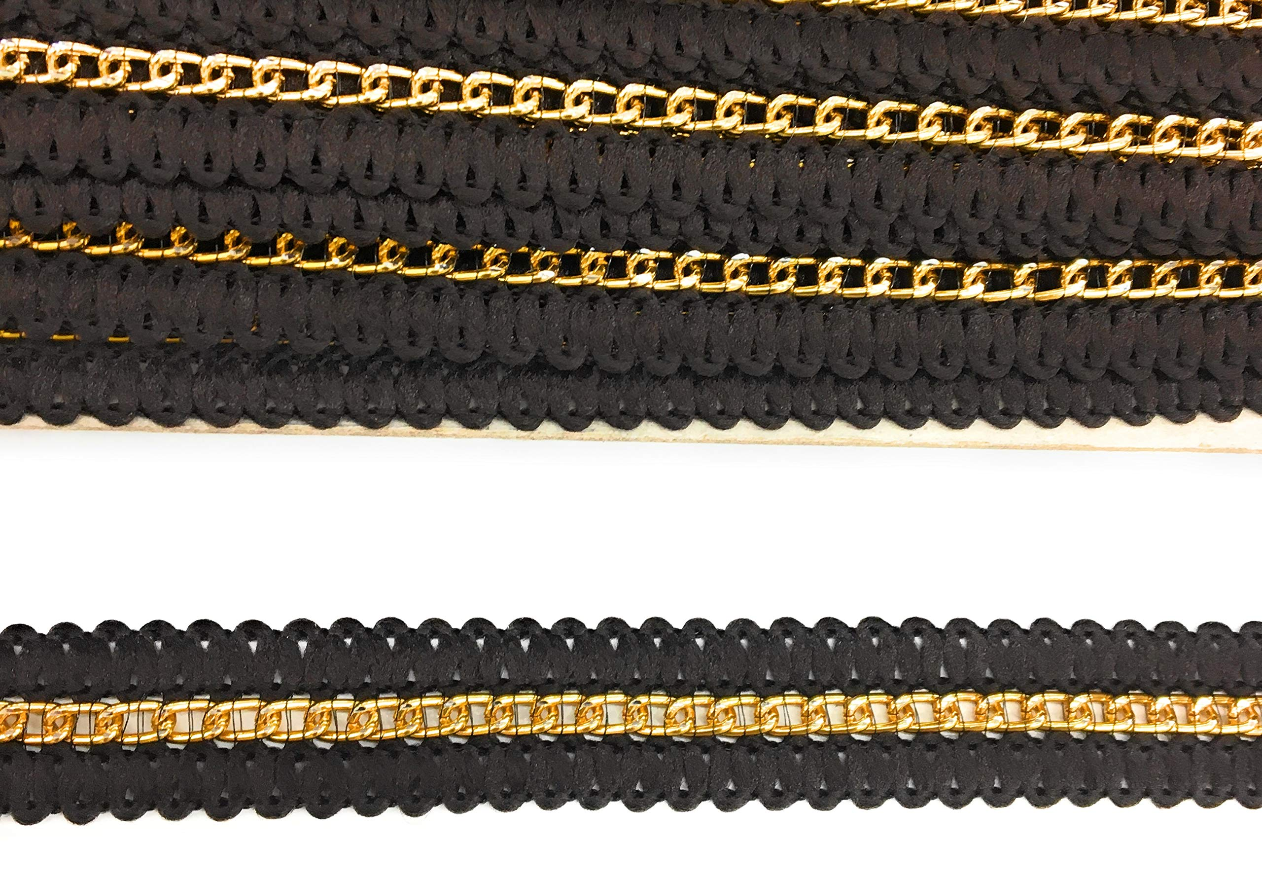 50 Yards Brown Braided with Gold Chain Center - 3/4'' (17mm) x 50 Yds Sewing,Quilting Trimming - Brown gimp by Katz Trimming / Trims Unlimited