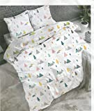 HOMECRUST 155 TC Glace Cotton Double Bedsheet with 2 Pillow Covers, Multi Colour