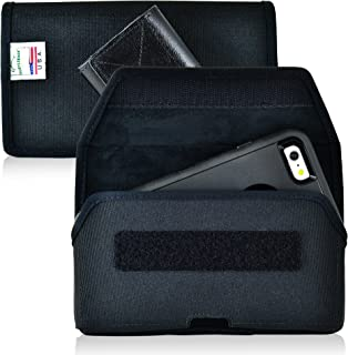 product image for Turtleback Belt Case Holster Made for iPhone 7 Plus, 8 Plus, Samsung S7 Black Nylon Police Duty Belt Pouch with Heavy Duty Rotating Belt Clip, Horizontal (Hook & Loop fastner Closure) Made in USA