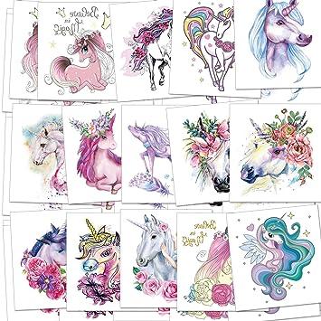 Amazon.com: Unicornio tatuajes temporales para niños y niñas ...