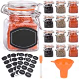 Spice Jars - 12 Airtight Flip Top Bottles with 40 Labels & Chalkboard Pen - Complete Set of 3.4 Ounce Square Empty Spice…
